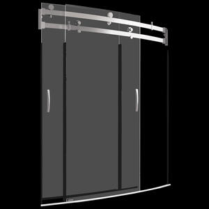 """Stainless 60"""" x 30"""" Curved Bathtub Shower Door Product Image"""