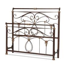 See Details - Lucinda Metal Headboard and Footboard Bed Panels with Intricate Scrollwork and Sleigh-Styled Top Rails, Marbled Russet Finish, Queen