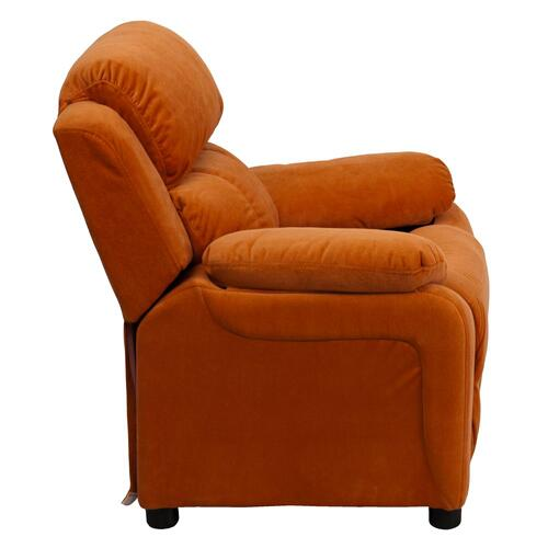 Deluxe Padded Contemporary Orange Microfiber Kids Recliner with Storage Arms