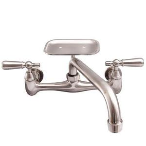 Dollie Wall Mount Kitchen Faucet - Brushed Nickel / With Soap Dish Product Image