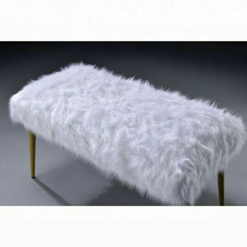 ACME Bagley II Bench - 96450 - White Faux Fur & Gold