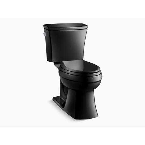 Black Black Two-piece Elongated 1.6 Gpf Chair Height Toilet