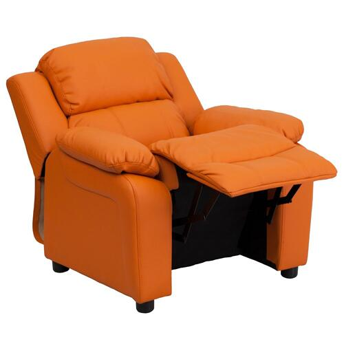 Alamont Furniture - Deluxe Padded Contemporary Orange Vinyl Kids Recliner with Storage Arms