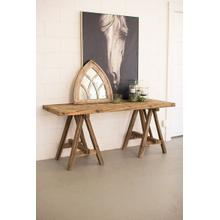 See Details - recycled wooden deep console with saw horse base