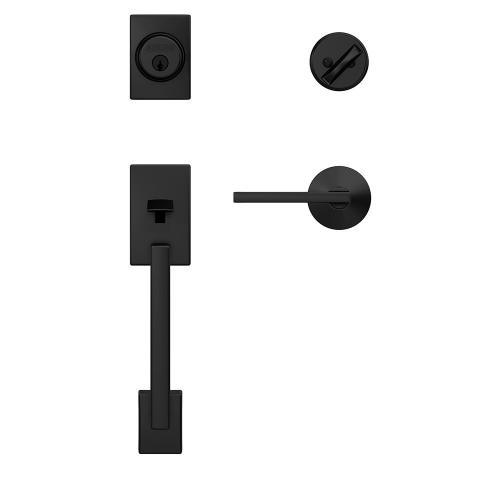Custom Century Single Cylinder Handleset and Interior Latitude Lever with Kinsler Trim - Matte Black