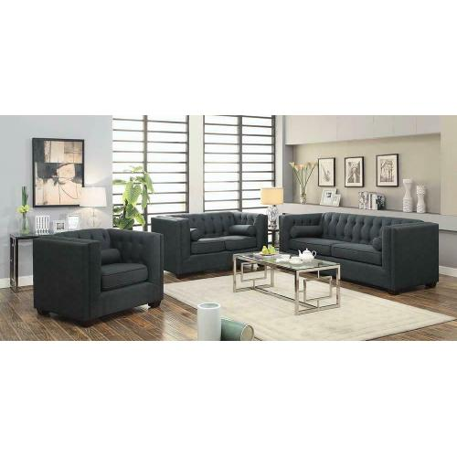 See Details - Cairns Transitional Charcoal Loveseat