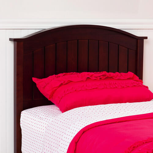 Fashion Bed Group - Finley Wood Headboard Panel with Curved Top Rail and Slatted Grill Design, Merlot Finish, Full / Queen