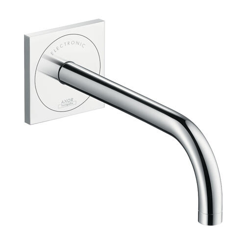 Brushed Nickel Electronic basin mixer for concealed installation wall-mounted with spout 225 mm