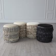 See Details - Fringe Ottoman-Light Grey Marble Leather