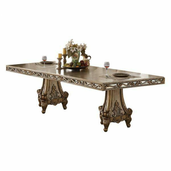 ACME Orianne Dining Table w/Double Pedestal - 63790 - Antique Gold