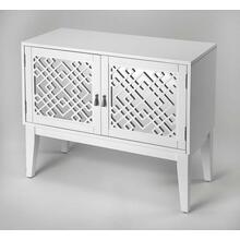 Glam meets Mid-century modern style with this eye-catching console cabinet. Crafted from rubberwood solids and wood products in a brilliant Glossy White finish, this stunning design features mirrored door fronts with geometric latticework complete with po