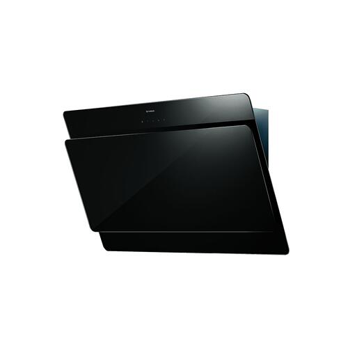 "36"" vertical wall hood black glass"