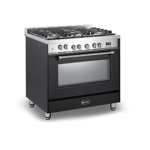 "Matte Black 36"" Dual Fuel Single Oven Range - Prestige Series"
