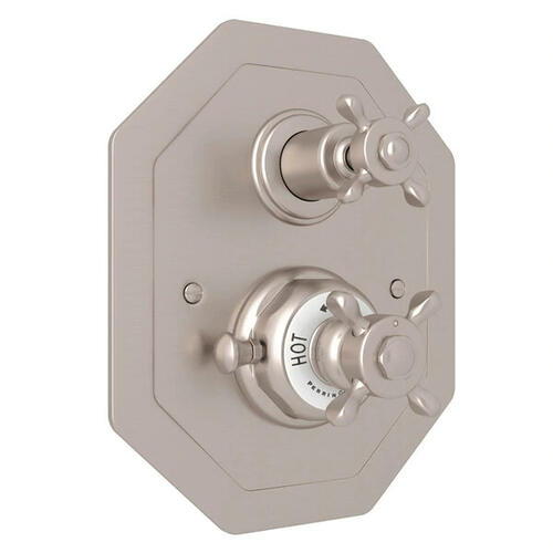 Edwardian Octagonal Concealed Thermostatic Trim with Volume Control - Satin Nickel with Cross Handle
