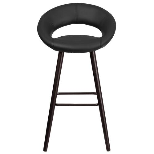 29'' High Contemporary Cappuccino Wood Barstool in Black Vinyl