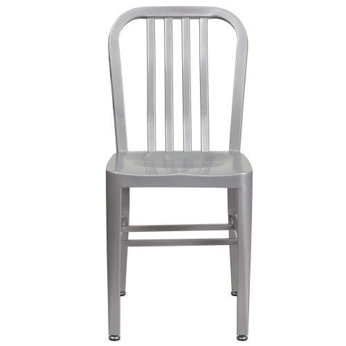 Silver Metal Indoor-Outdoor Chair