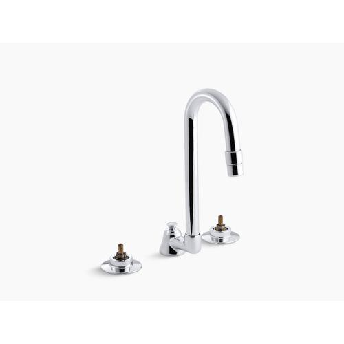Polished Chrome 0.5 Gpm Widespread Bathroom Sink Base Faucet With Pop-up Drain and Gooseneck Spout, Requires Handles