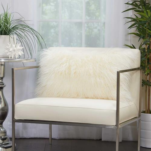 """Faux Fur Bj101 White 14"""" X 24"""" Lumbar Pillow"""