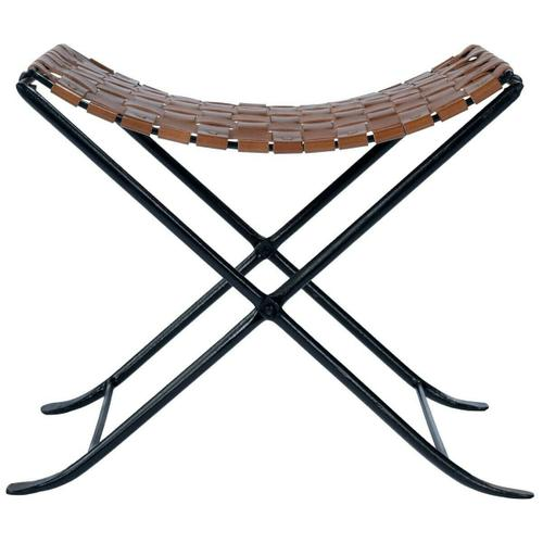 Beautifully constructed with a black iron base, high quality leather and metal nail head accents contribute to the rustic charm of this stool.