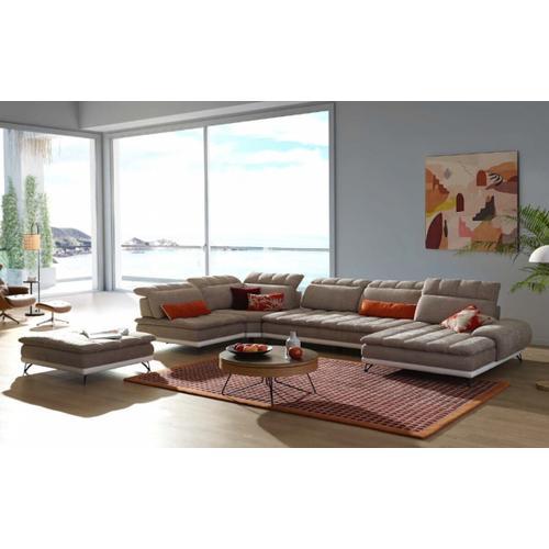 VIG Furniture - David Ferrari West End - Italian Beige Fabric + White Leather Modular Sectional Sofa