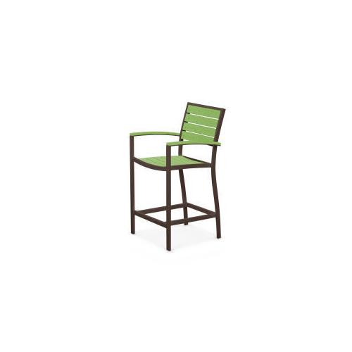 Polywood Furnishings - Eurou2122 Counter Arm Chair in Textured Bronze / Lime
