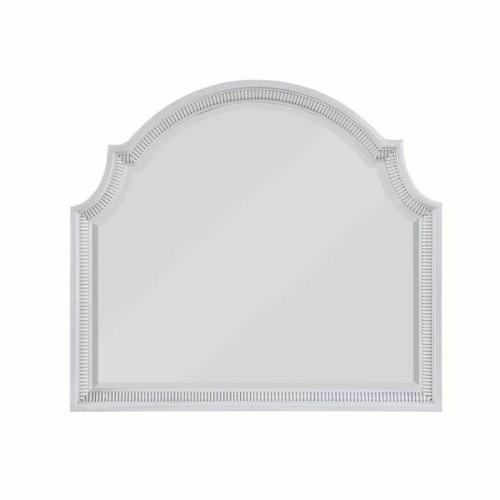 ACME Celestia Mirror - 22124 - Coastal - Wood (Solid Poplar), Wood Veneer (Oak), Poly-Resin, MDF, Ply, PB - Off White
