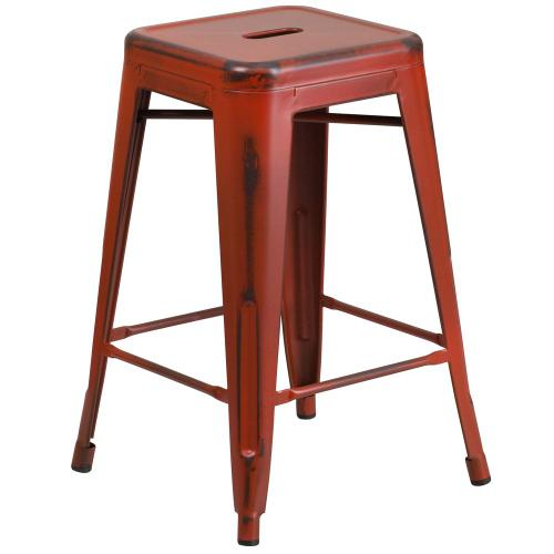 24'' High Backless Distressed Kelly Red Metal Indoor-Outdoor Counter Height Stool