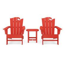 View Product - Wave 3-Piece Adirondack Set with The Ocean Chair in Sunset Red