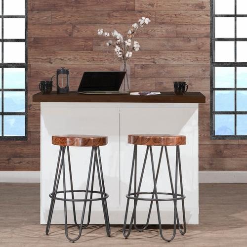 Pembra Backless Bar Height Stool With Wood Seat, Natural Sheesham
