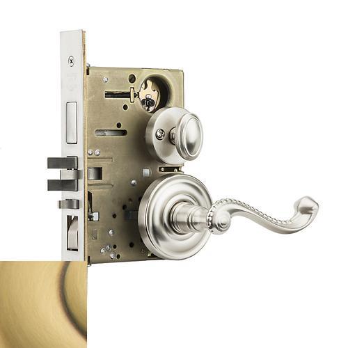 Baldwin - Satin Brass and Brown Bristol Sectional Entrance Set