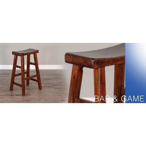 "30""H Santa Fe Saddle Seat Stool, Wood Seat"