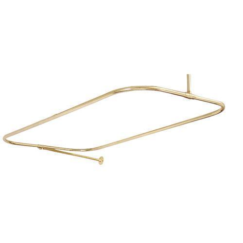 "24"" Rectangular Shower Rod with Supports - 48"" x 24"" / Polished Brass"