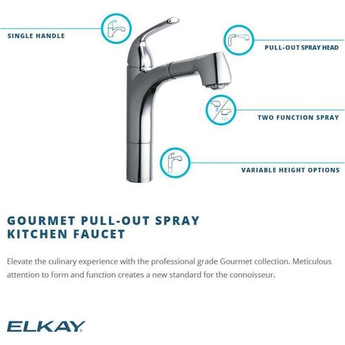 Elkay - Elkay Gourmet Single Hole Kitchen Faucet Pull-out Spray and Lever Handle with Hi and Mid-rise Base Options Oil Rubbed Bronze