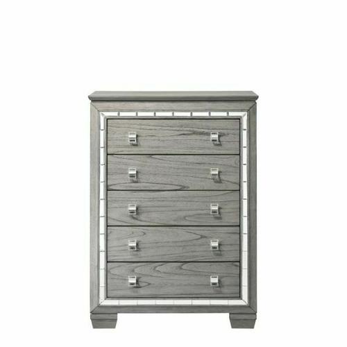 ACME Antares Chest - 21826 - Glam, Transitional - Mirror, Wood (Solid Rbw), MDF, PB - Light Gray Oak