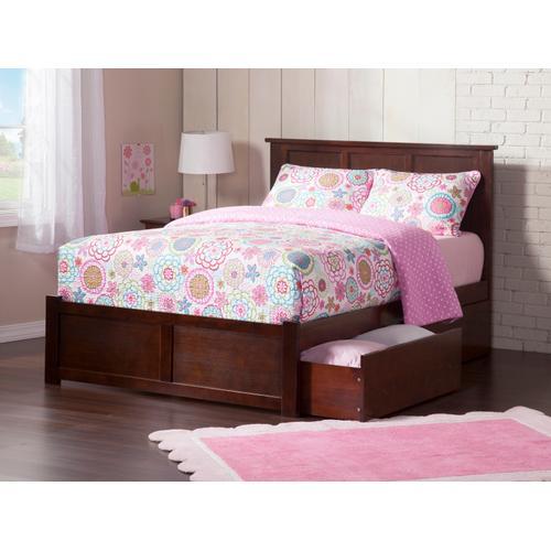 Atlantic Furniture - Madison King Flat Panel Foot Board with 2 Urban Bed Drawers Walnut