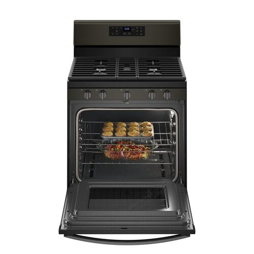 5.0 cu. ft. Freestanding Gas Range with Center Oval Burner Black Stainless