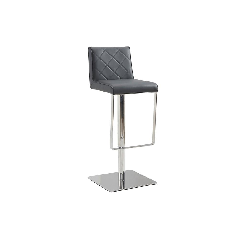 The Loft Adjustable Bar Stool In Dark Gray Pu-leather With Stainless Steel Base