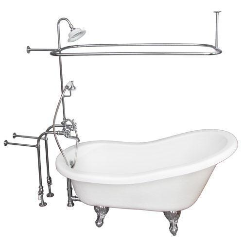 "Imogene 67"" Acrylic Slipper Tub Kit in White - Polished Chrome Accessories"