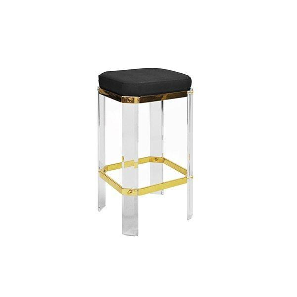 With A Nod To Hollywood's Golden Age, Our Opulent Dorsey Counter Stool Will Channel Your Inner Celebrity. Faceted Lucite Legs Are Studded With Polished Brass Accents, and Its Luxurious Black Shagreen Cushion Finishes This Glamour Shot.