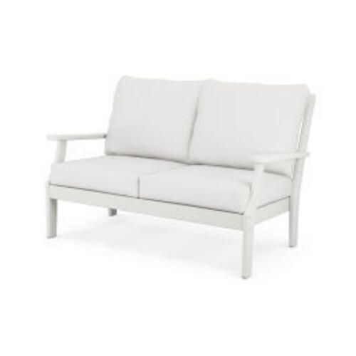 Braxton Deep Seating Settee in Vintage White / Natural Linen