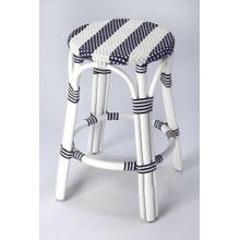 See Details - Evoking images of sidewalk tables in the Cote d' Azur; barstools like this will give your kitchen or patio the casual sophistication of a Mediterrnean coastal bistro. Skillfully crafted from thick bent rattan for superb durability; it features weather resistant woven plastic in an updated and fresh pattern. This barstool is lightweight for easy mobility with comfort to make the space it's in a frequent gathering place.