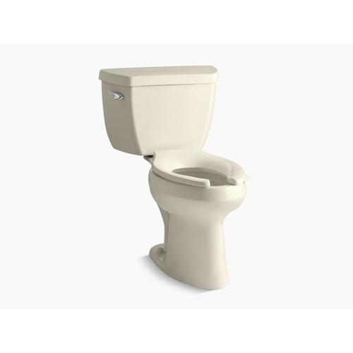 Almond Two-piece Elongated Chair Height Toilet With Tank Cover Locks