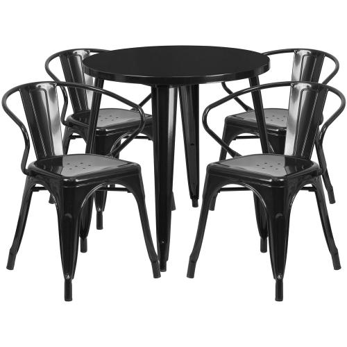 30'' Round Black Metal Indoor-Outdoor Table Set with 4 Arm Chairs