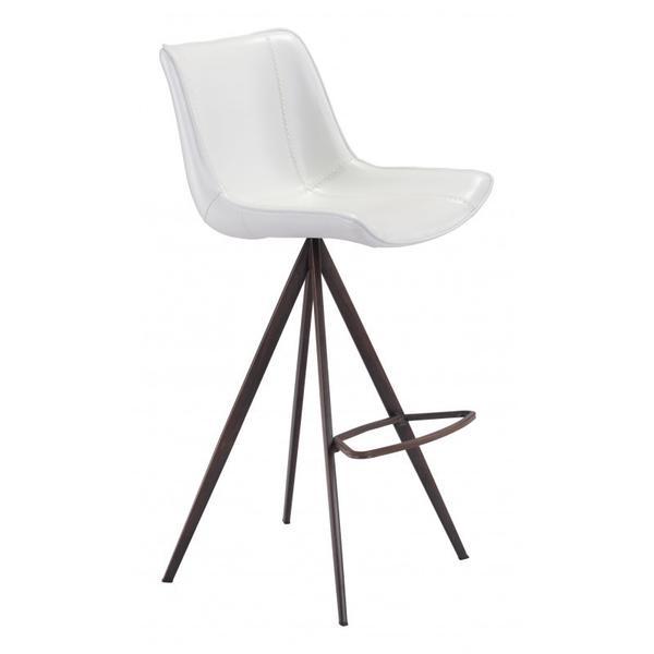 Aki Bar Chair White & Walnut