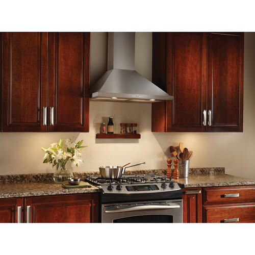 Broan® 30-Inch Convertible Canopy Wall-Mount Range Hood w/ Heat Sentry®, 500 CFM, Stainless Steel