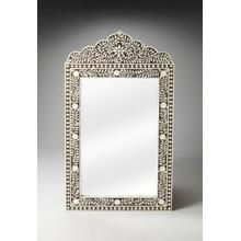 See Details - This magnificent Wall Mirror features old world craftsmanship. No two mirrors are ever exactly alike as each piece is handcrafted takes weeks of painstaking effort. The intricate patterns covering the piece are created from white bone inlays cut and individually applied in a field of brown by the hands of a skillful artisan. Delicate sheen overall says this piece is made for a Rej's palace. Wonderful in entryway, hall, boudoir or powder room.
