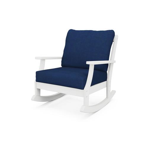 White & Navy Braxton Deep Seating Rocking Chair