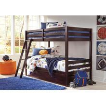 Halanton Twin/Twin Bunk Bed W/Under Bed Storage Dark Brown