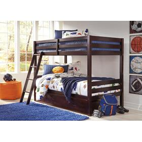 Halanton Twin/Twin Bunk Bed W/Under Bed Storage Dark Brown