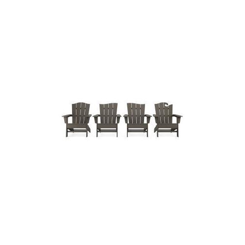Polywood Furnishings - Wave Collection 4-Piece Adirondack Chair Set in Vintage Coffee